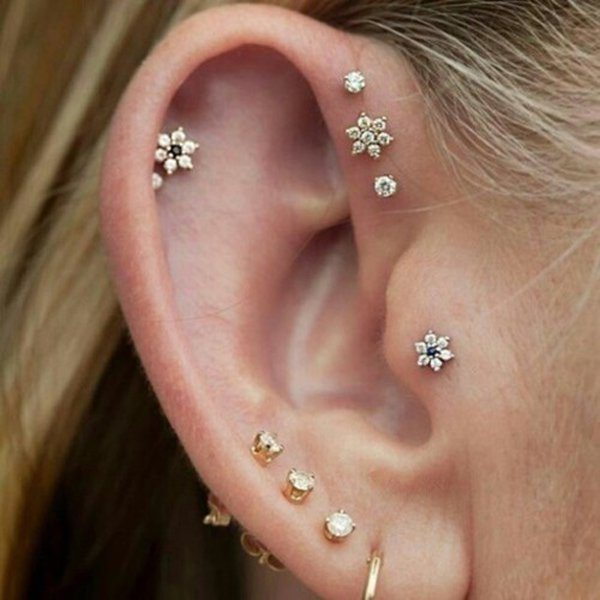 Triple Helix Piercing Is One Of The Most Liked Piercing By Ladies
