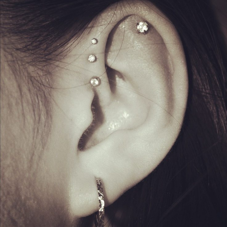 Triple Forward Helix Piercing Information guide with images Ear Piercings Triple Helix