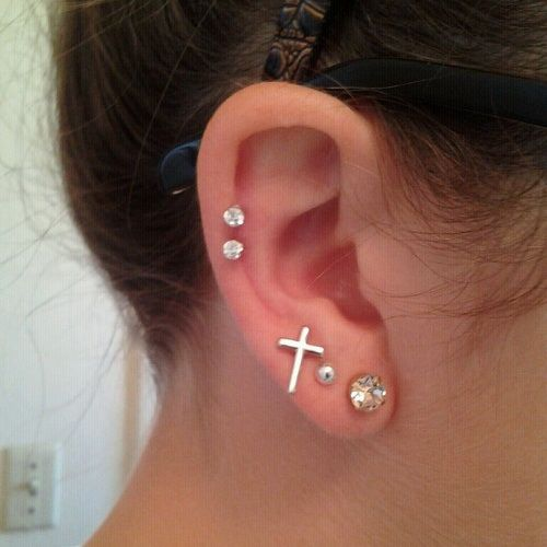 Double Cartilage Piercing Information Guide with Example ... Ear Piercings Cartilage